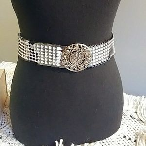 Vintage silver and white fish scale belt